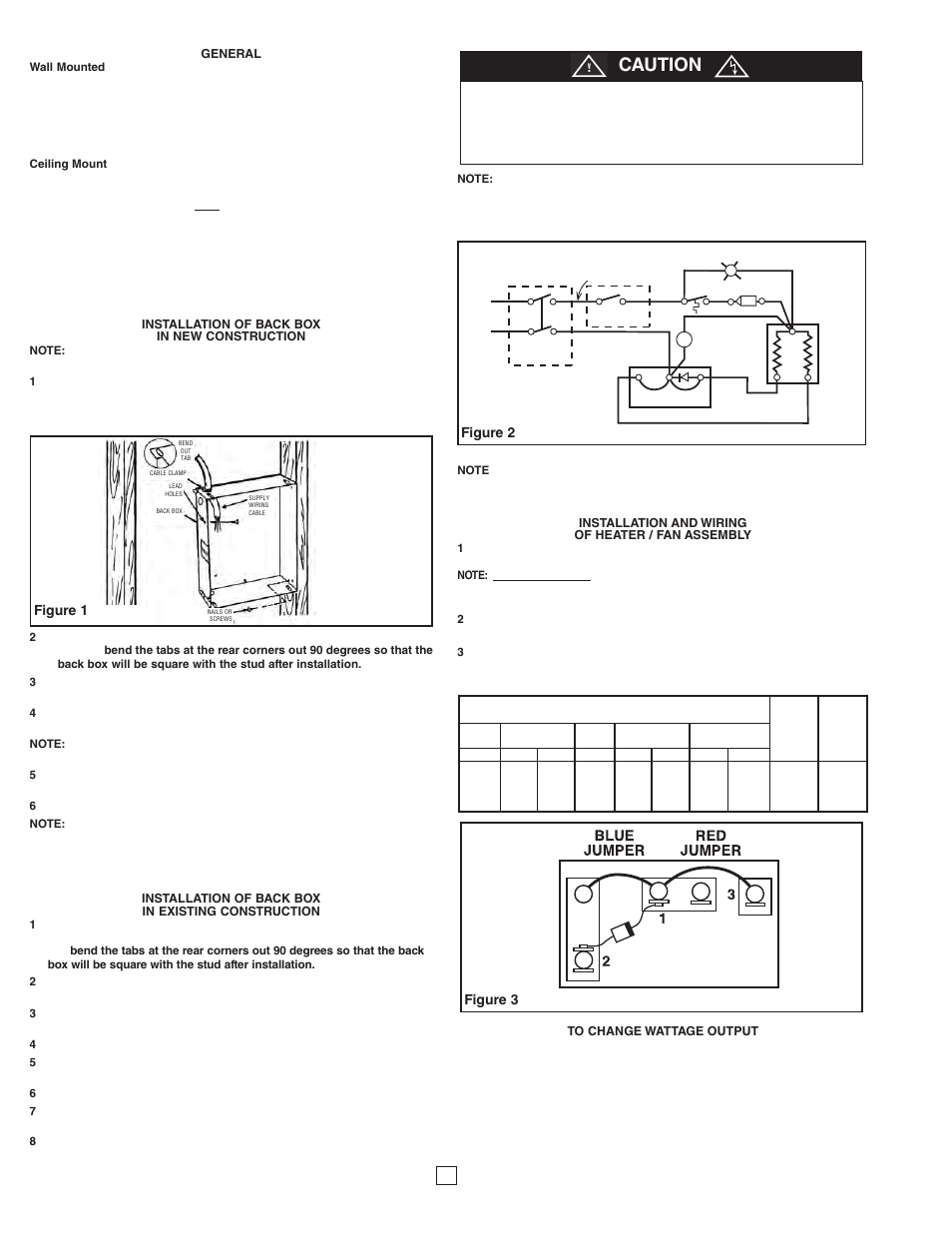 Wattage Caution Figure 1 Qmark Cra Series Residential Fan Wall Heater Wiring Diagram Forced Zonal Heaters User Manual Page 2 12