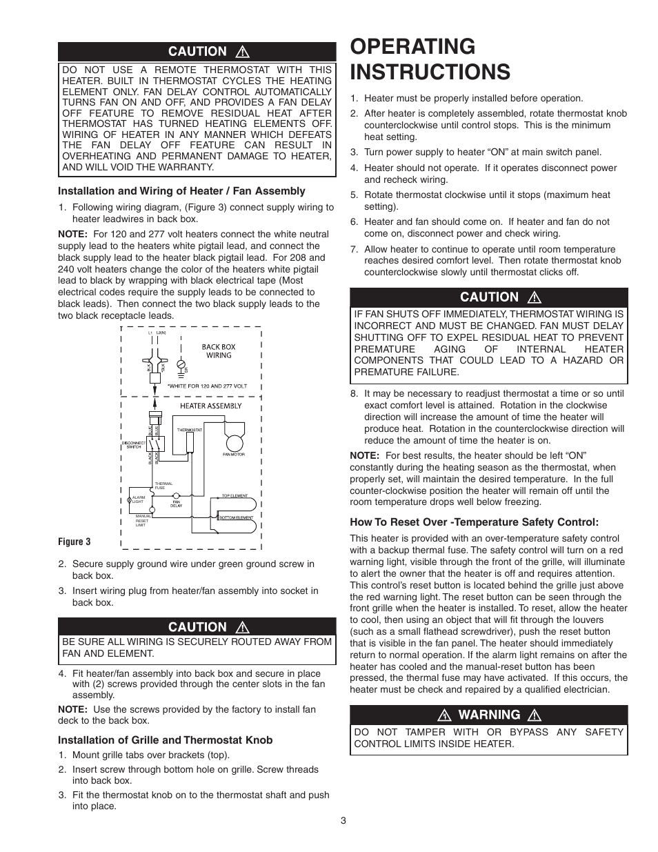 Operating Instructions Qmark Cwh1000 Series Small Room Fan Wall Furnace Thermostat Wiring Forced Heaters User Manual