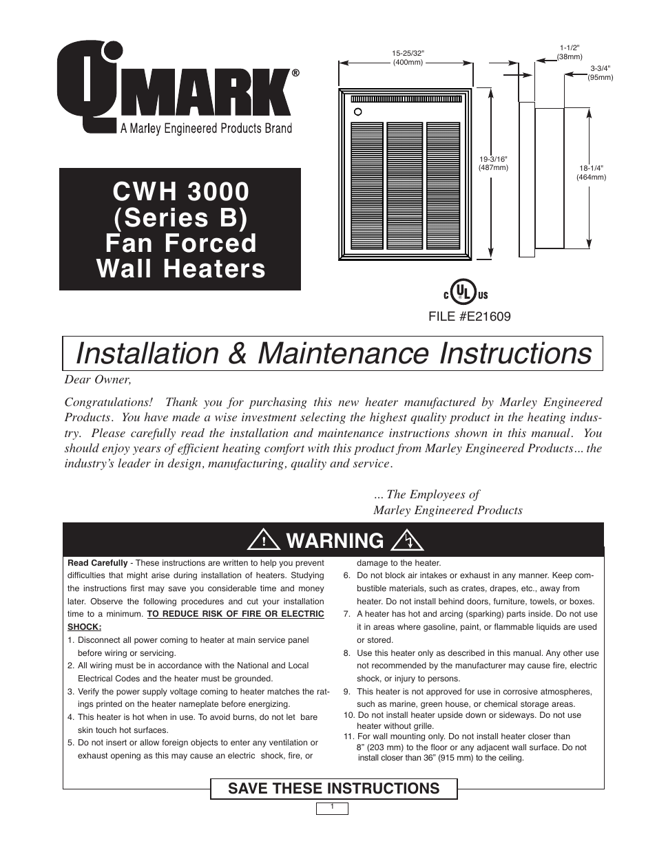 Qmark cwh3000 series commercial fan forced wall heaters user qmark cwh3000 series commercial fan forced wall heaters user manual 16 pages sciox Image collections