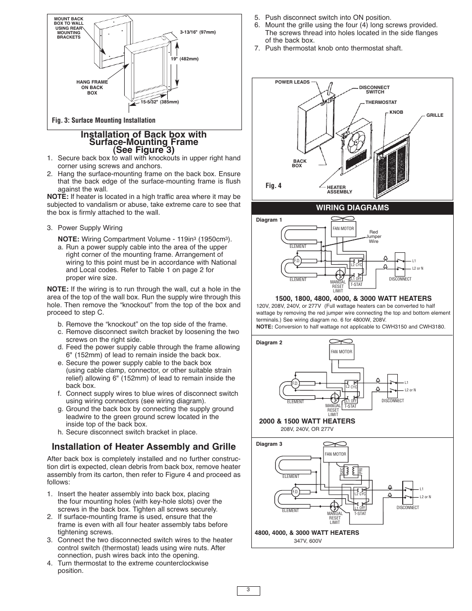 Installation Of Heater Assembly And Grille Wiring Diagrams 1950cm 277v Diagram Qmark Cwh3000 Series Commercial Fan Forced Wall Heaters User Manual Page 3 16