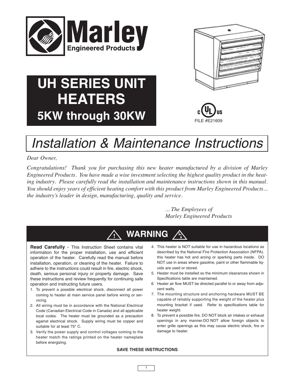 Qmark iuh industrial unit heater user manual 12 pages sciox Image collections