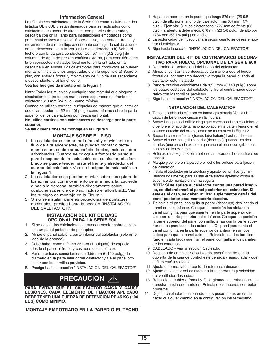 Precaucion | Qmark CUS900 - Stock Cabinet Unit Heater User Manual ...