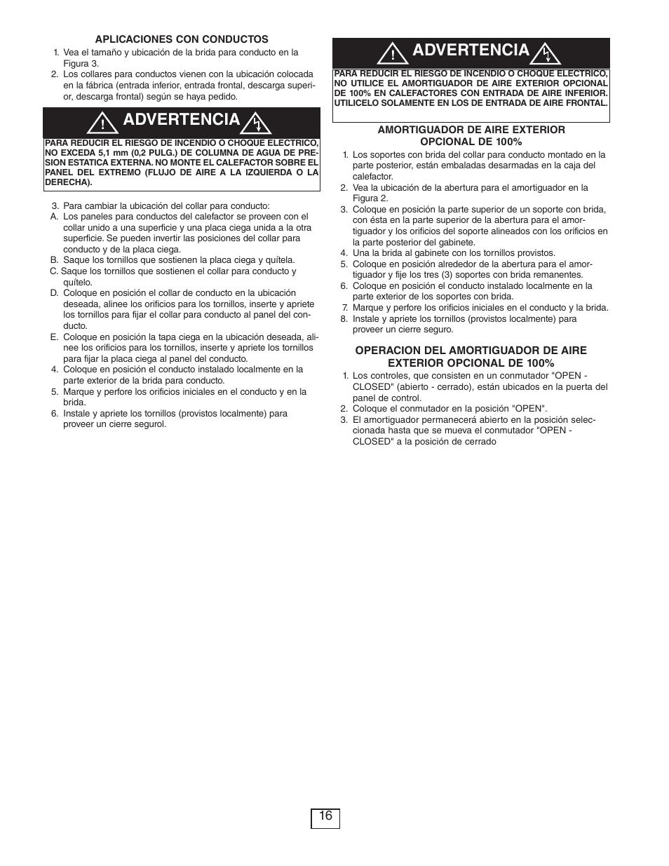 Advertencia | Qmark CUS900 - Stock Cabinet Unit Heater User Manual ...