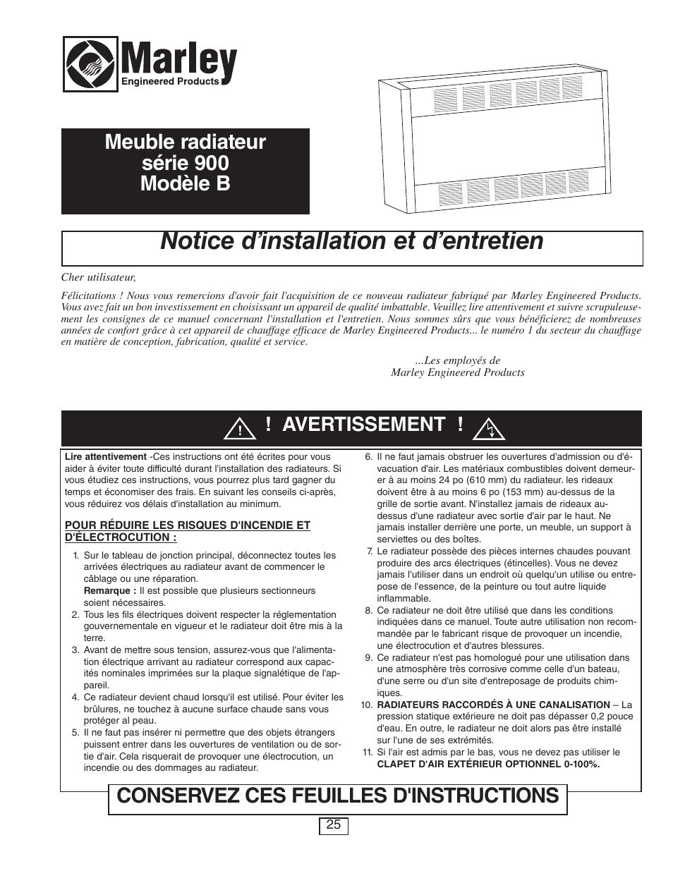 Notice d'installation et d'entretien, Avertissement | Qmark CUS900 ...