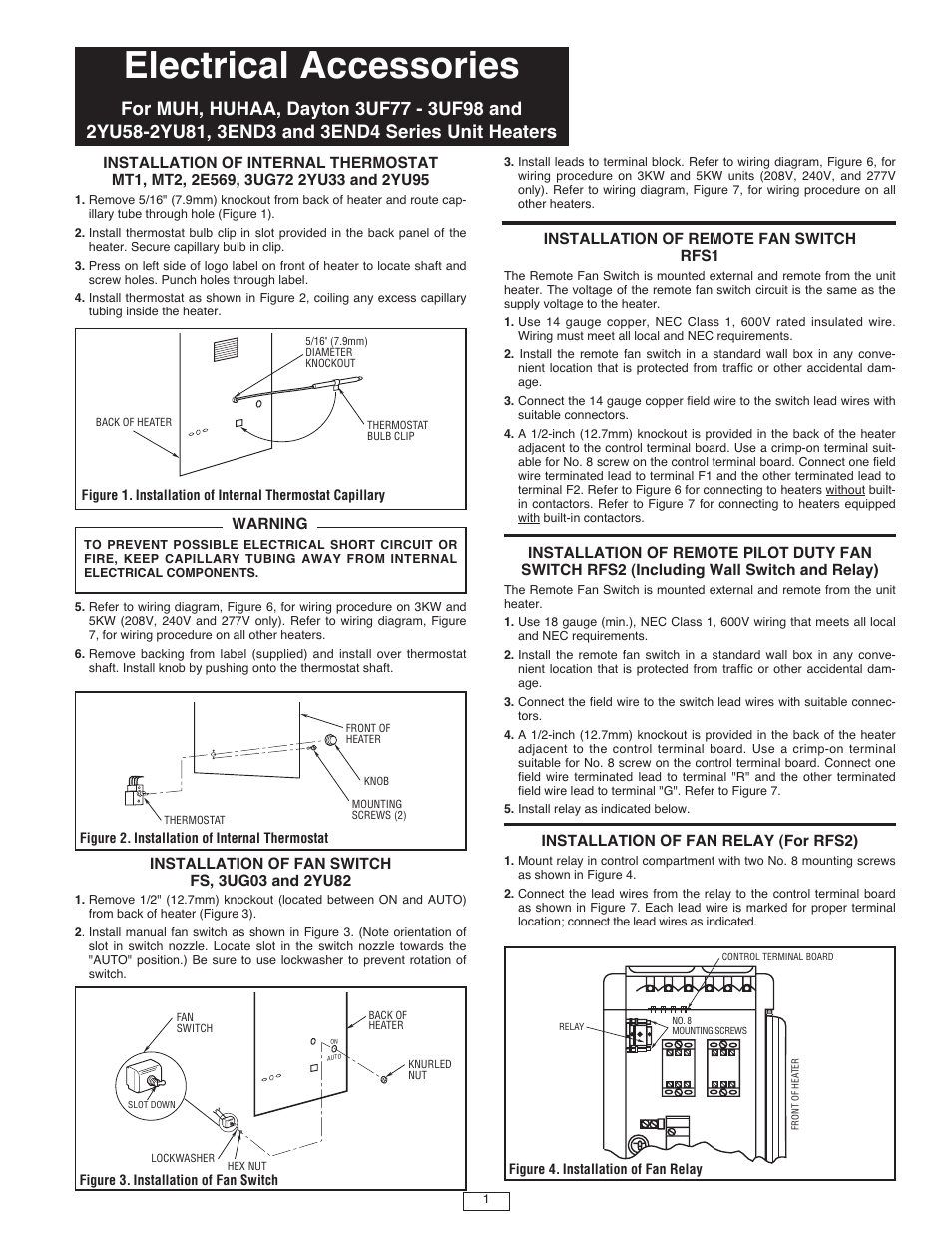 qmark muh horizontal downflow unit heaters user manual 2 pages