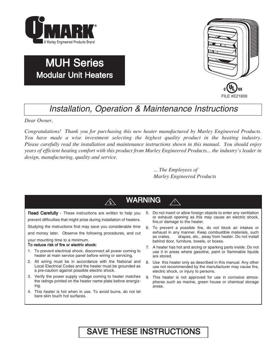 Qmark muh horizontal downflow unit heaters user manual 20 pages sciox Image collections
