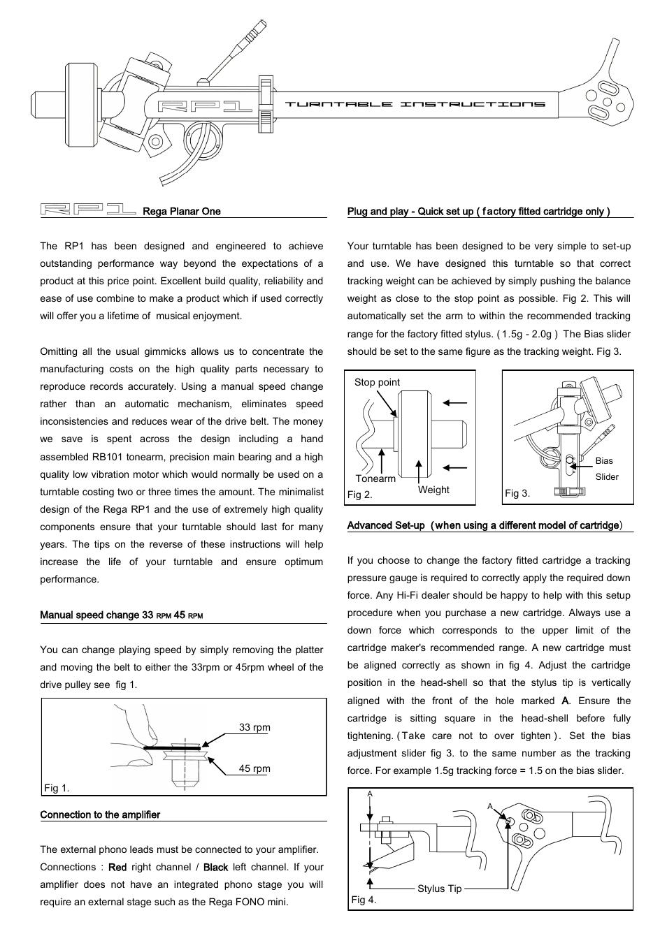 Rega Rp1 Performance Pack User Manual