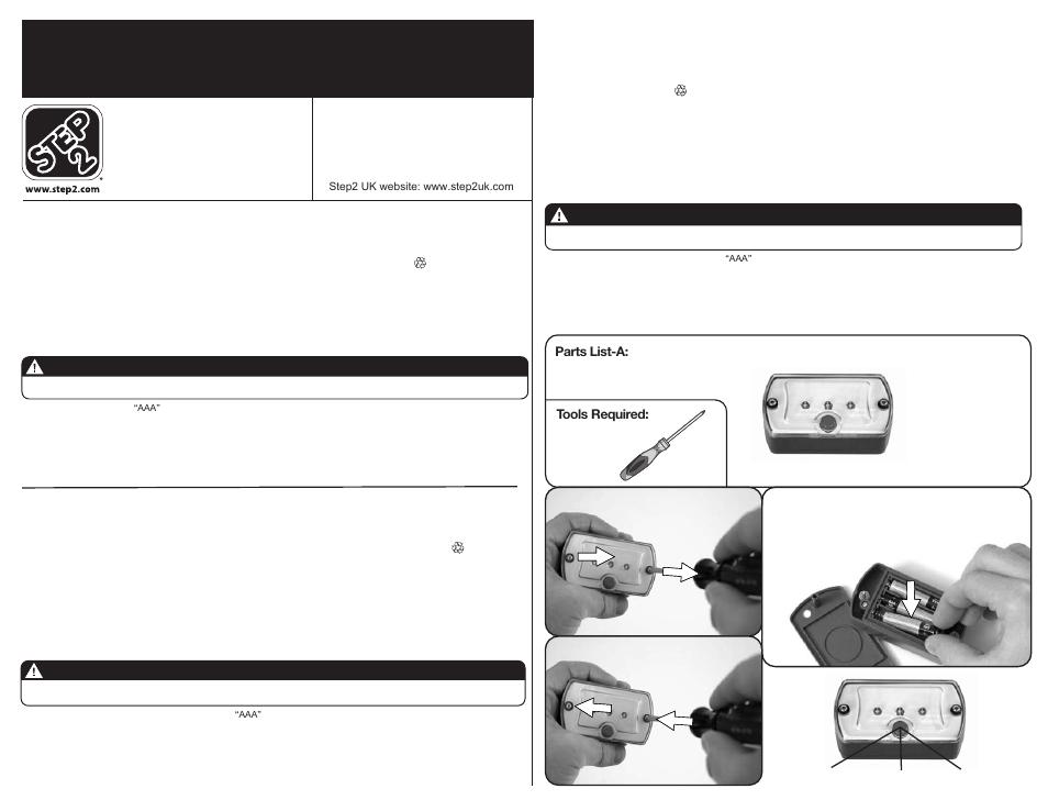 L.e.d. light, Mise en garde, Advertencia   Step2 LifeStyle ...