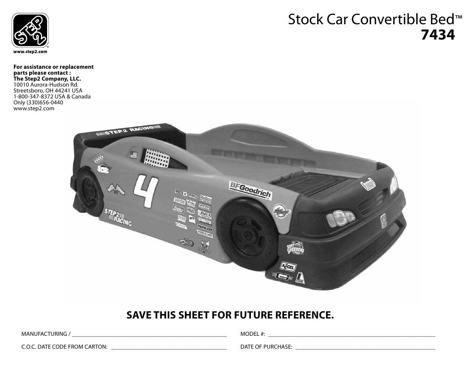 Step2 Stock Car Convertible Bed User Manual 9 Pages
