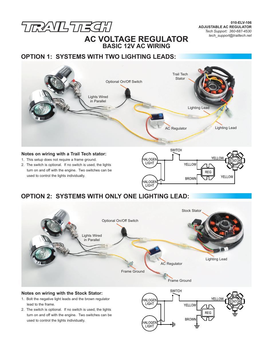Trail Tech Ac Voltage Regulator 7003 Ac01 User Manual 2