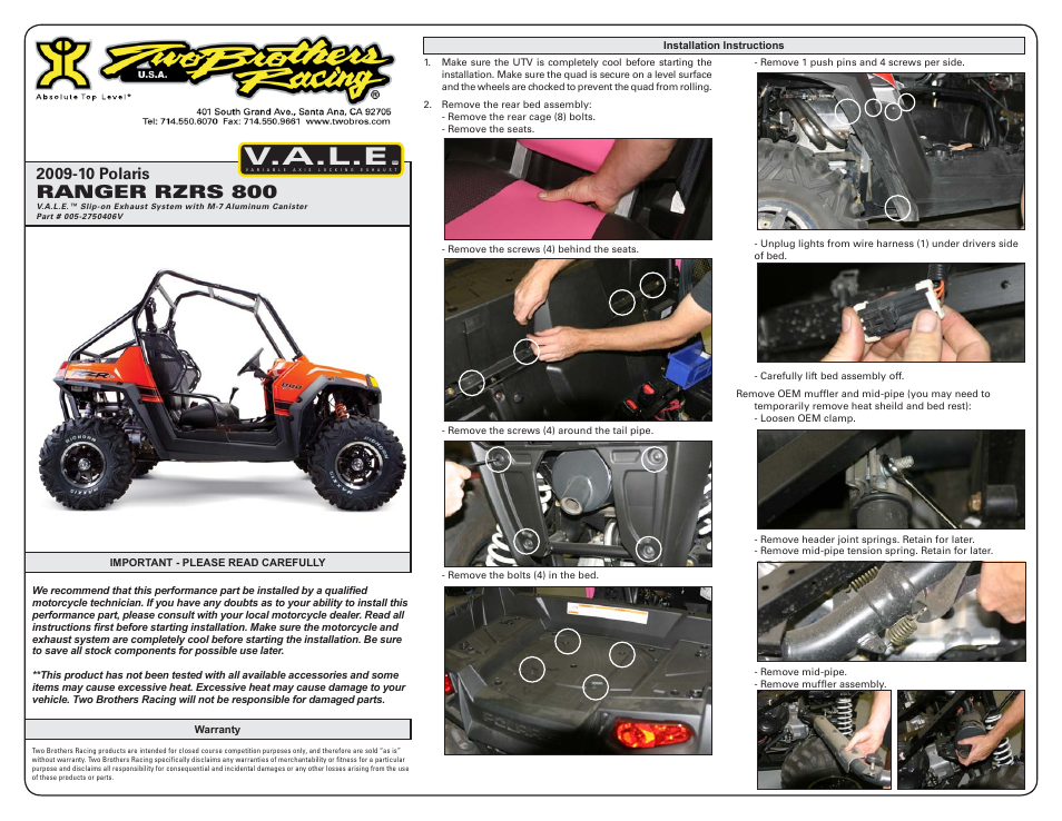 Two Brothers Racing Polaris Ranger RZR-S User Manual | 3 pages