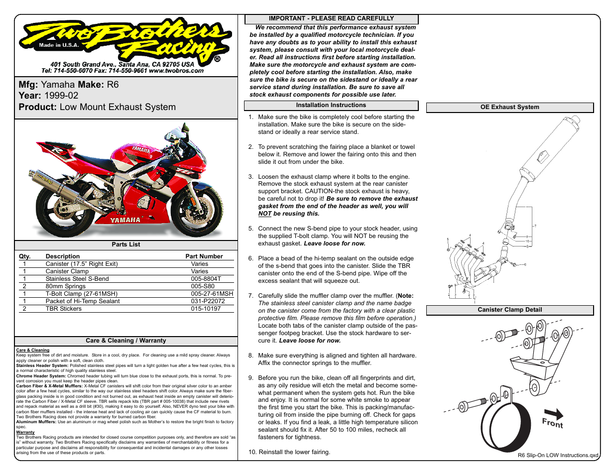 Two Brothers Racing Yamaha R6 User Manual   1 page