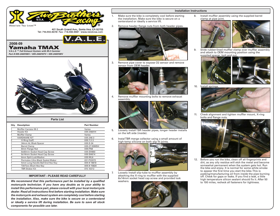 two brothers racing yamaha t max 500 user manual 2 pages rh manualsdir com service manual yamaha tmax 500 service manual yamaha tmax 500