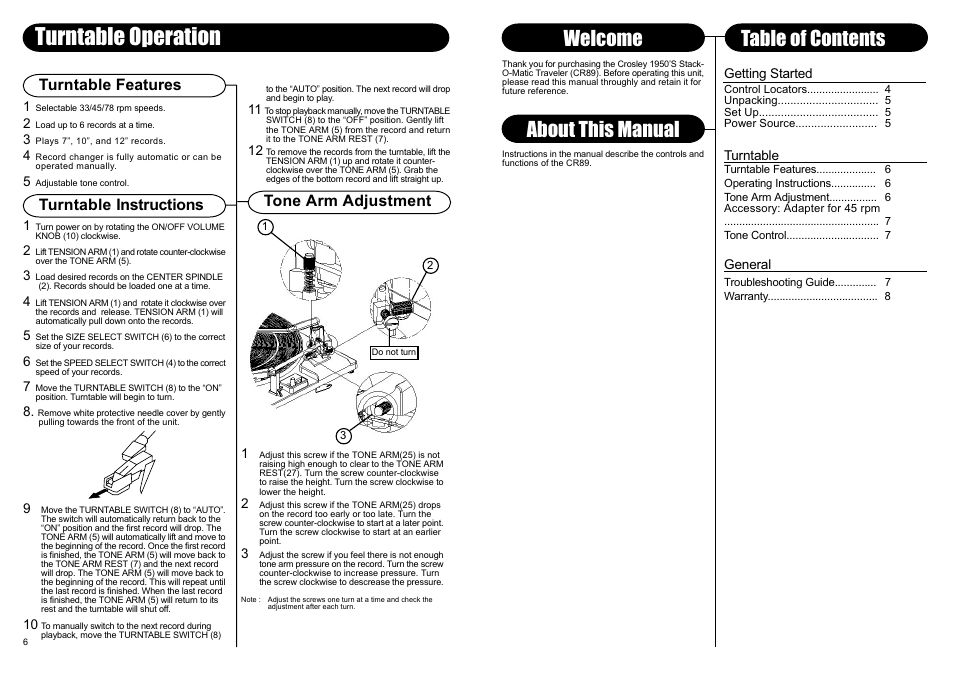 Turntable Operation About This Manual Welcome Table Of Contents