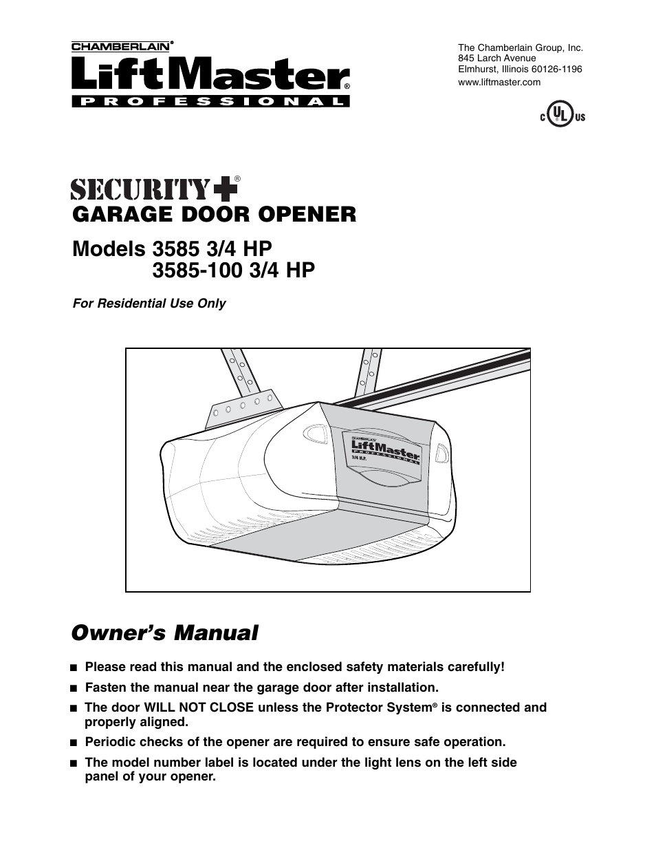 Chamberlain 3585-100 3/4 HP User Manual | 36 pages | Also for: 585 3/4 HP
