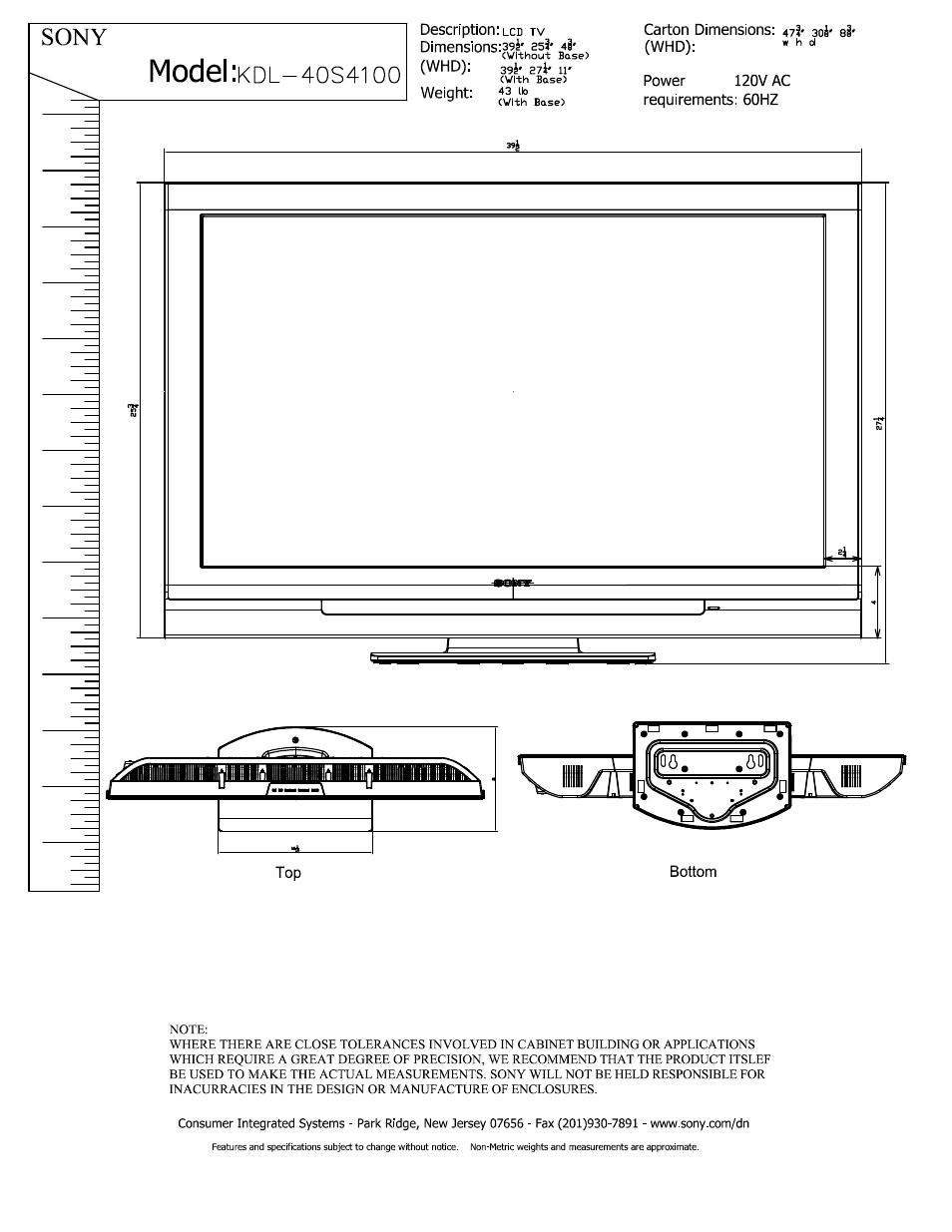 sony kdl 40s4100 user manual 2 pages rh manualsdir com sony bravia 40s4100 manual sony kdl-40s4100 service manual