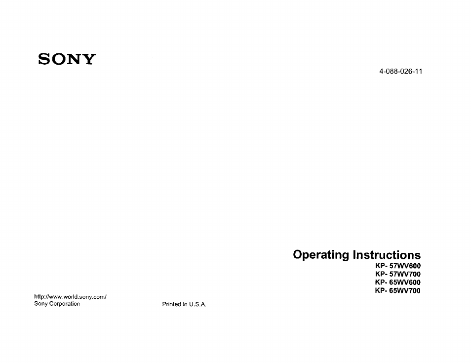 sony kp 57wv600 user manual 100 pages also for kp 65wv600 kp rh manualsdir com