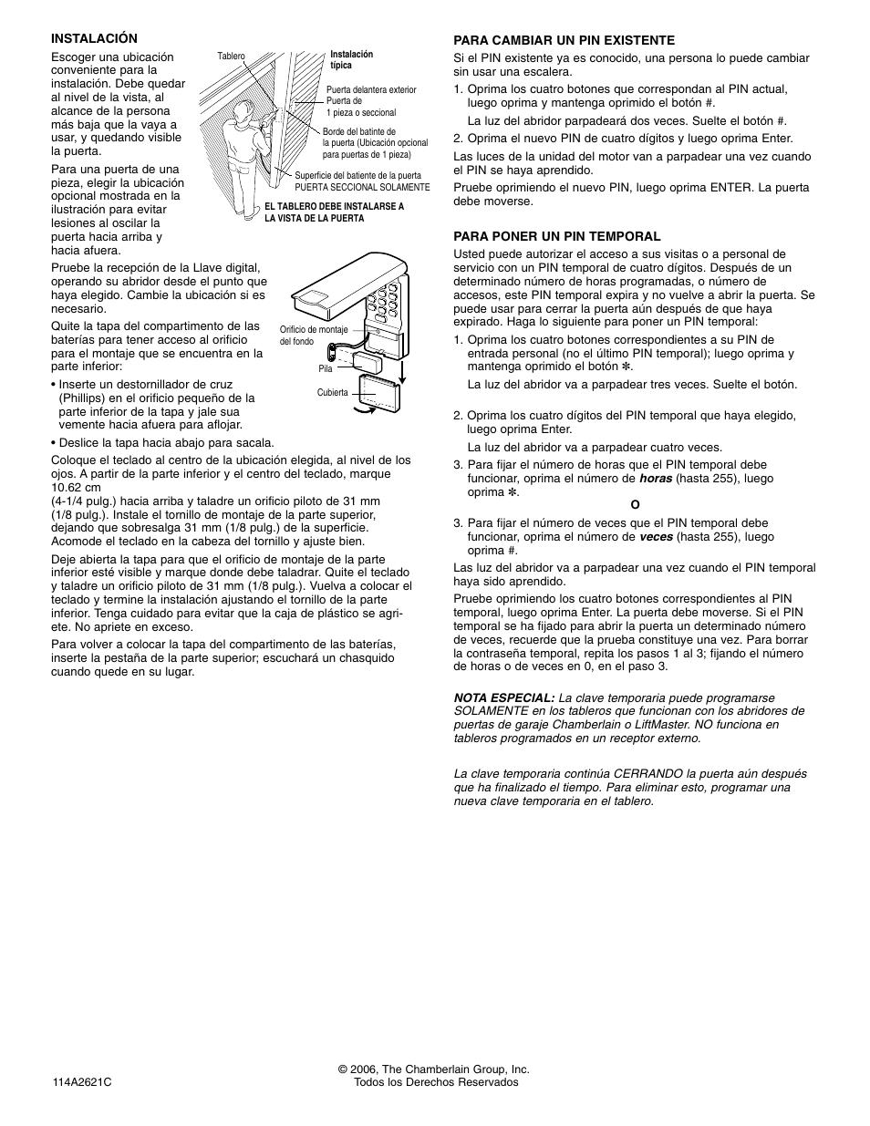 Instalación   Chamberlain SECURITY 940-315CB User Manual   Page 4 / 4