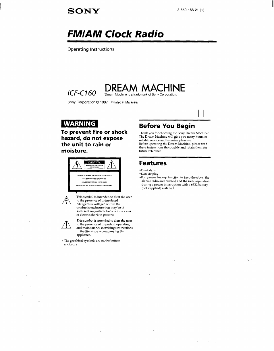 Sony Icf C160silver User Manual 5 Pages Also For Icf C160