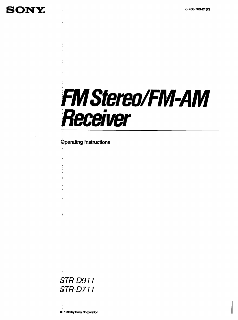 Sony Str D711 User Manual 36 Pages Am Receiver