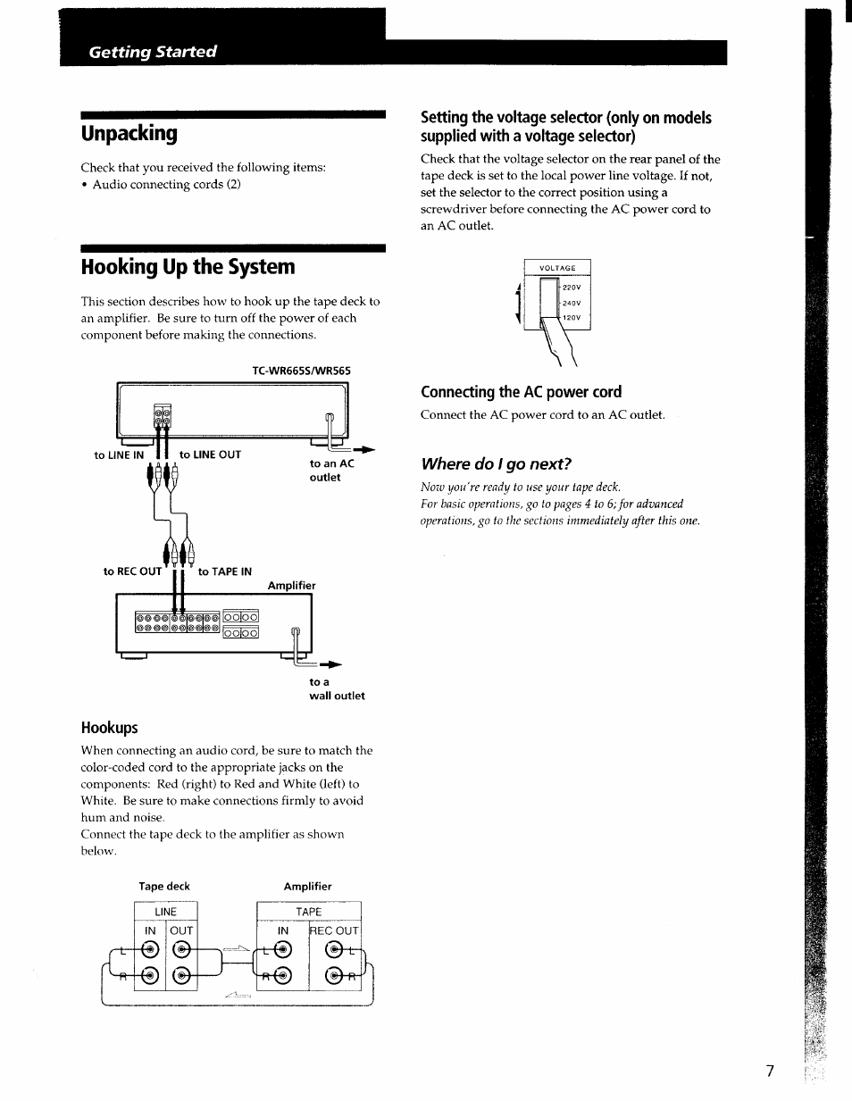 Unpacking Hooking Up The System Connecting Ac Power Cord Wiring Sony Tc Wr565 User Manual Page 7 20