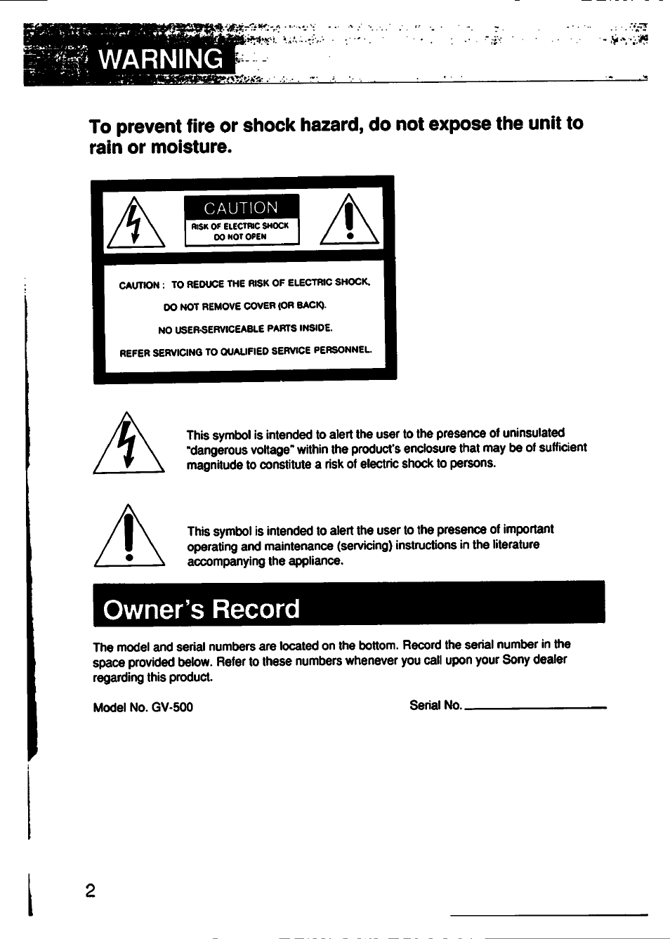 Owner's record | Sony GV-500 User Manual | Page 2 / 84