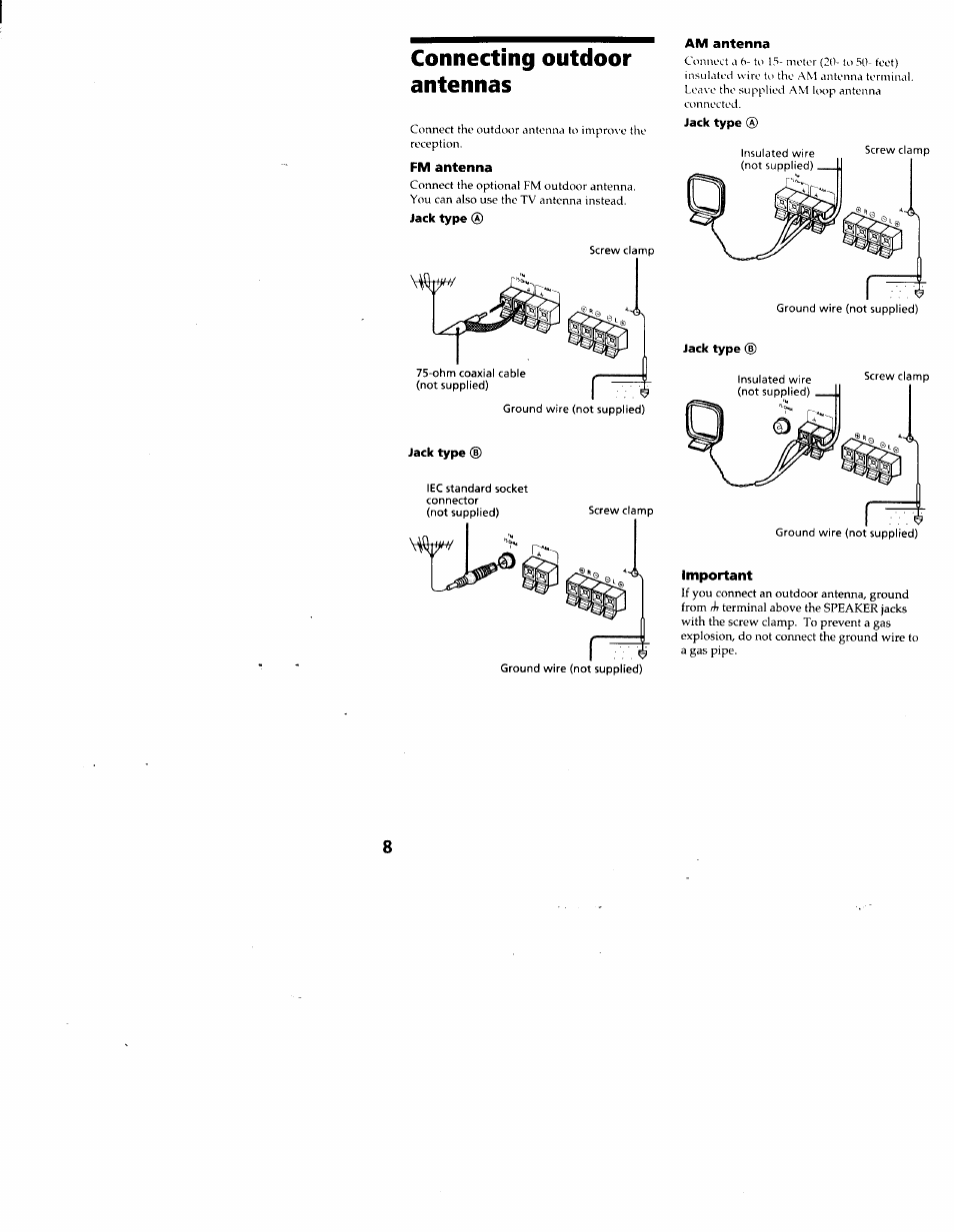 Connecting outdoor antennas, Fm antenna, Jack type | Sony MHC-RX33 User  Manual | Page 8 / 32