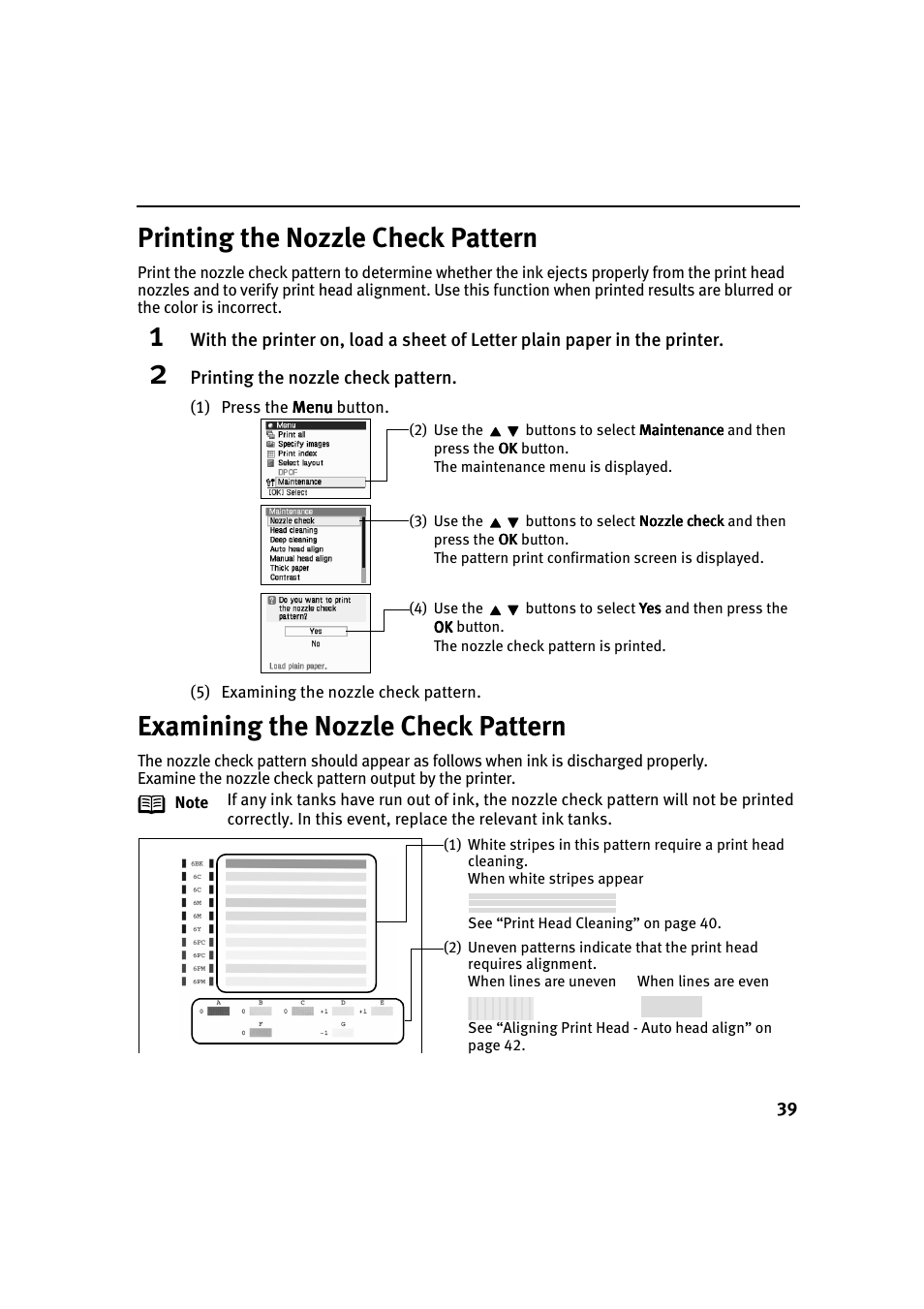 Printing the nozzle check pattern, Examining the nozzle