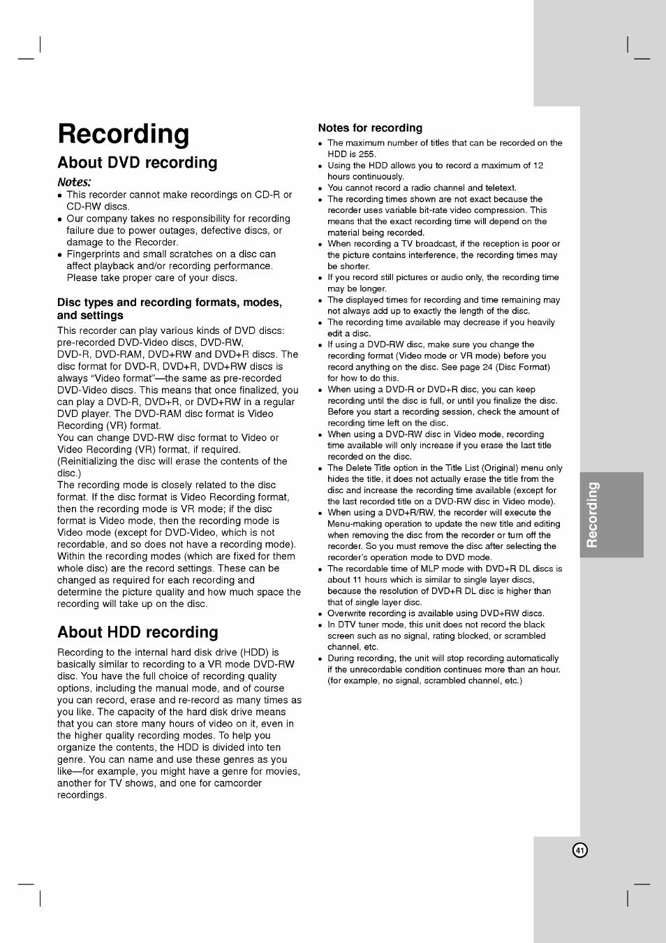 recording about dvd recording notes lg rh2t160 user manual rh manualsdir com