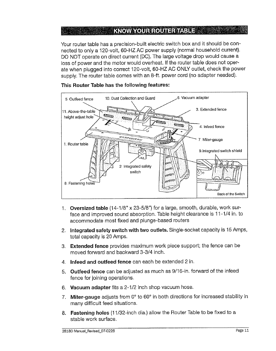 know your router tabl craftsman 320 28180 user manual page 11 rh manualsdir com Craftsman 1 HP Dust Collector Craftsman Radial Arm Saw Dust Collector