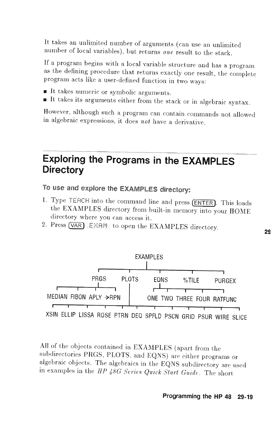 Exploring the programs in the examples directory | HP 48g