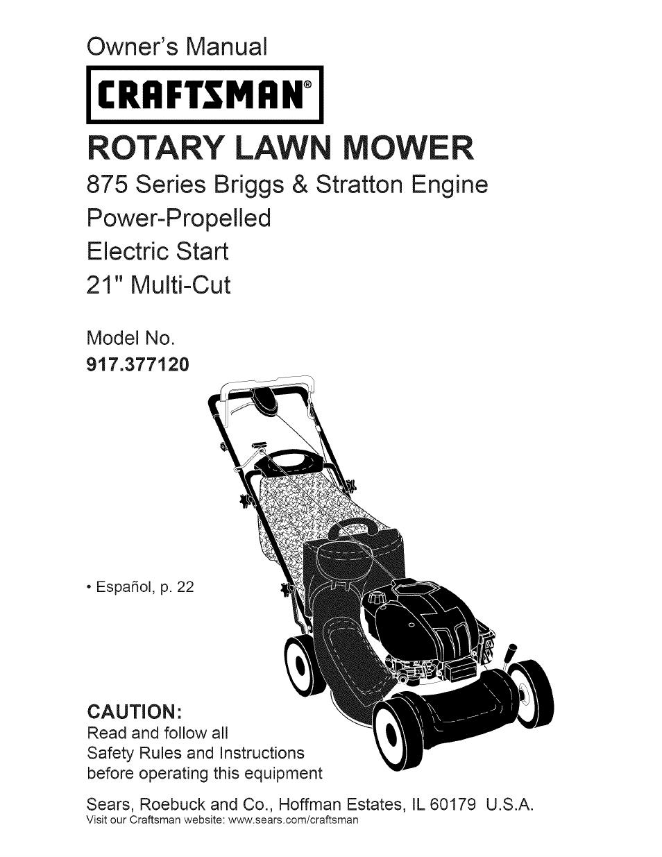 craftsman 917 377120 user manual 56 pages rh manualsdir com sears lawn mower user manual craftsman lawn mower owners manual pdf