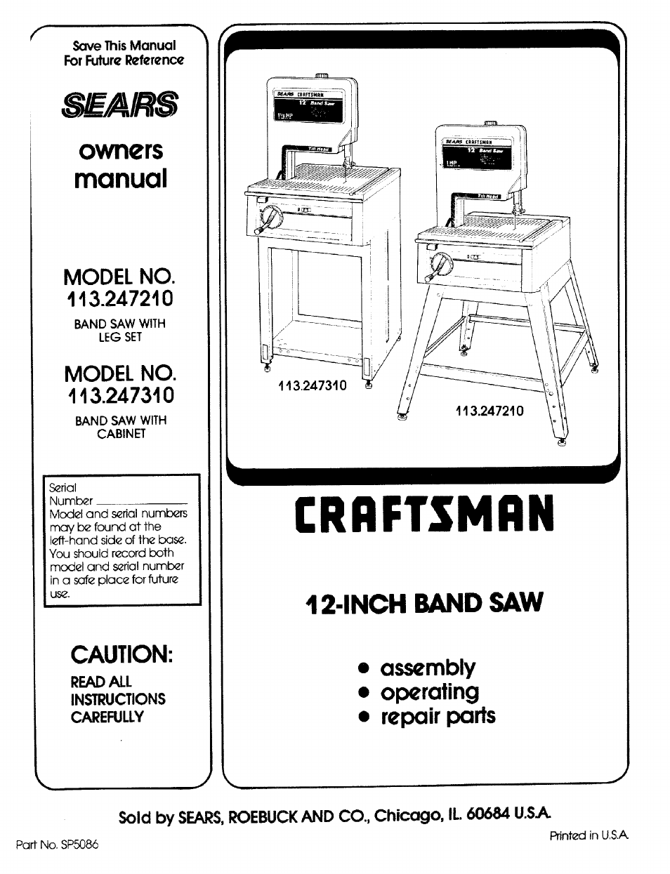 Craftsman Band Saw Wiring Diagram Garage Opener 113 2472t0 User Manual 40 Pages Rh Manualsdir Com Lt4000 Mower