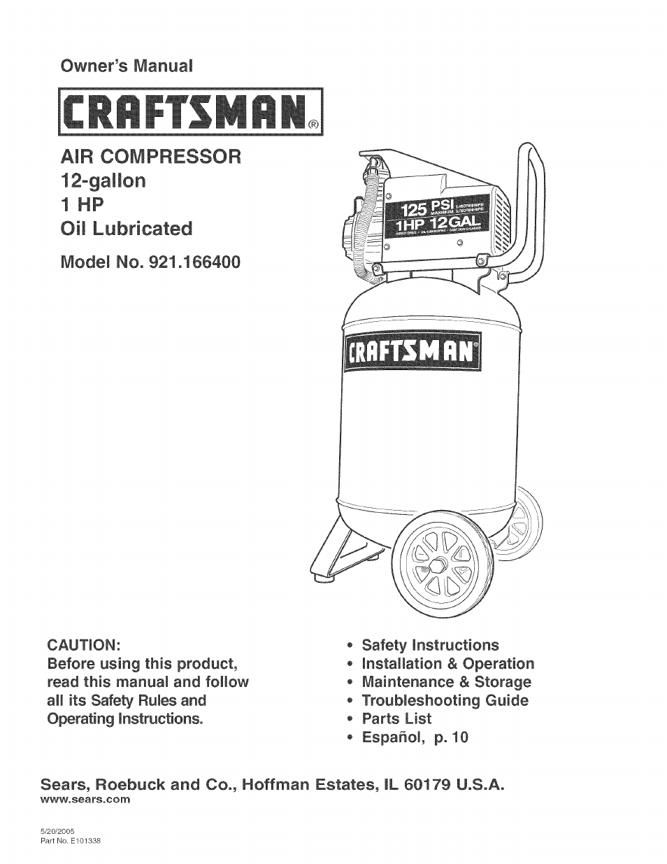 Craftsman Craftsman Permanently Lubricated Air Compressor Manual Guide