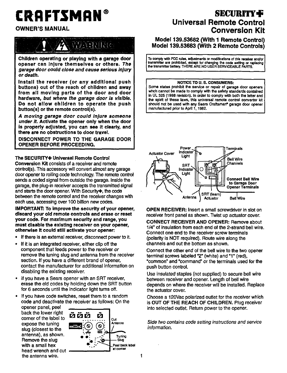 Craftsman 13953683 User Manual 2 Pages Also For 13953682