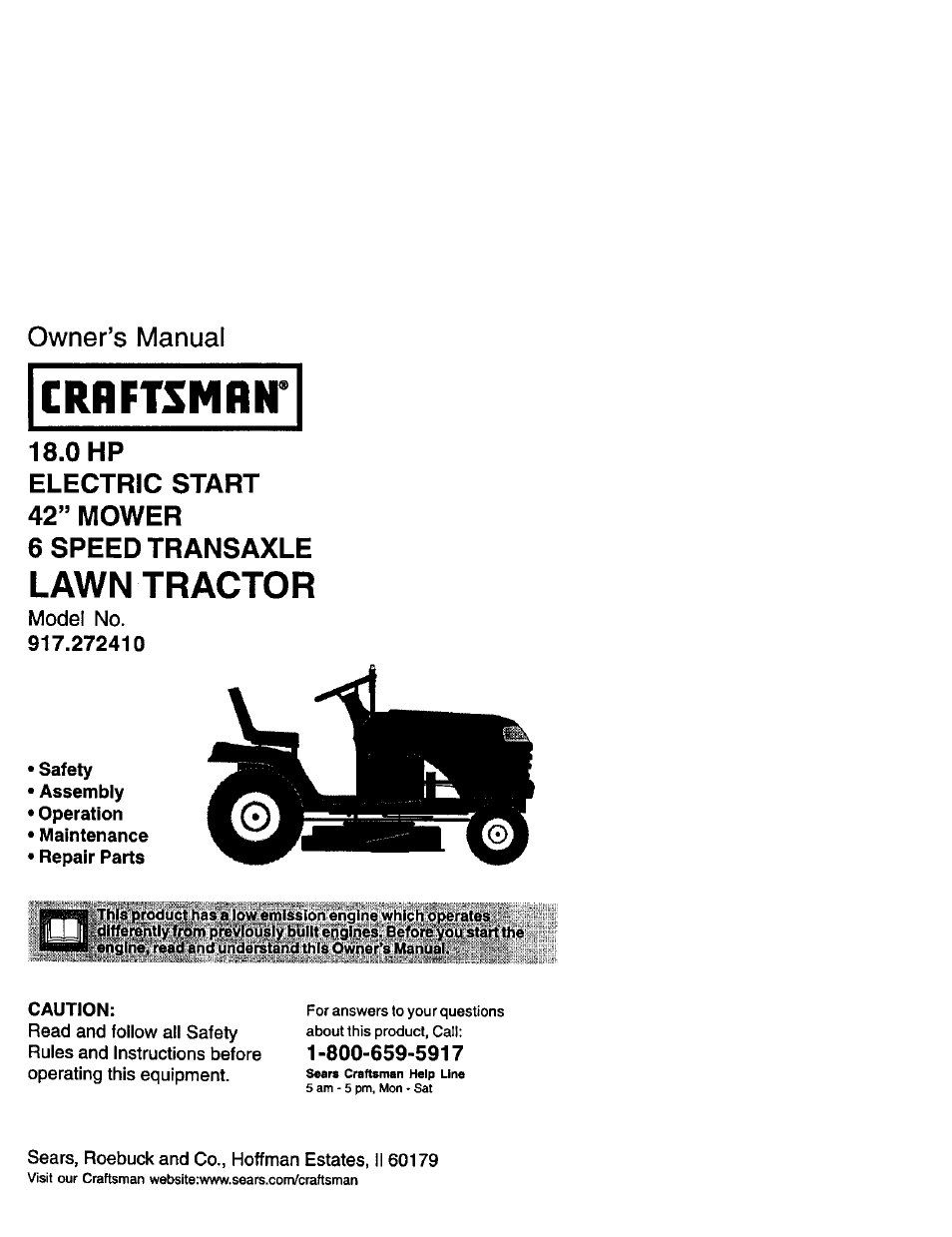 Craftsman 20 Hp Lawn Tractor Wiring Diagram Solutions For Sears Electrical Problem Repaired You 917 272410 User Manual 60 Pages