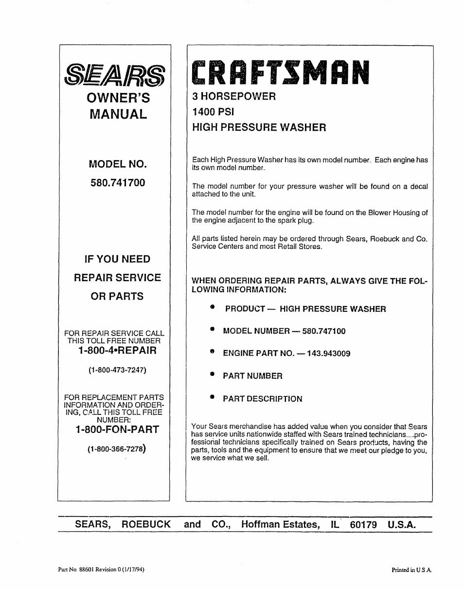 Crflftsmrn, Owner's, Manual | Craftsman 580.747100 User Manual | Page 20 /  40