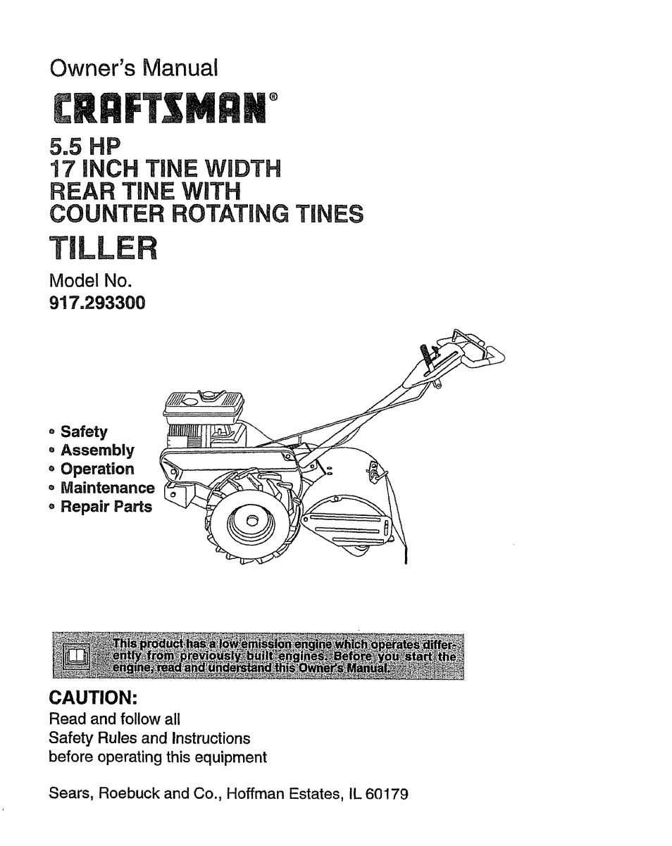 craftsman 917 293300 user manual 36 pages rh manualsdir com Craftsman Garden Tractor 917 Craftsman Garden Tiller Manual