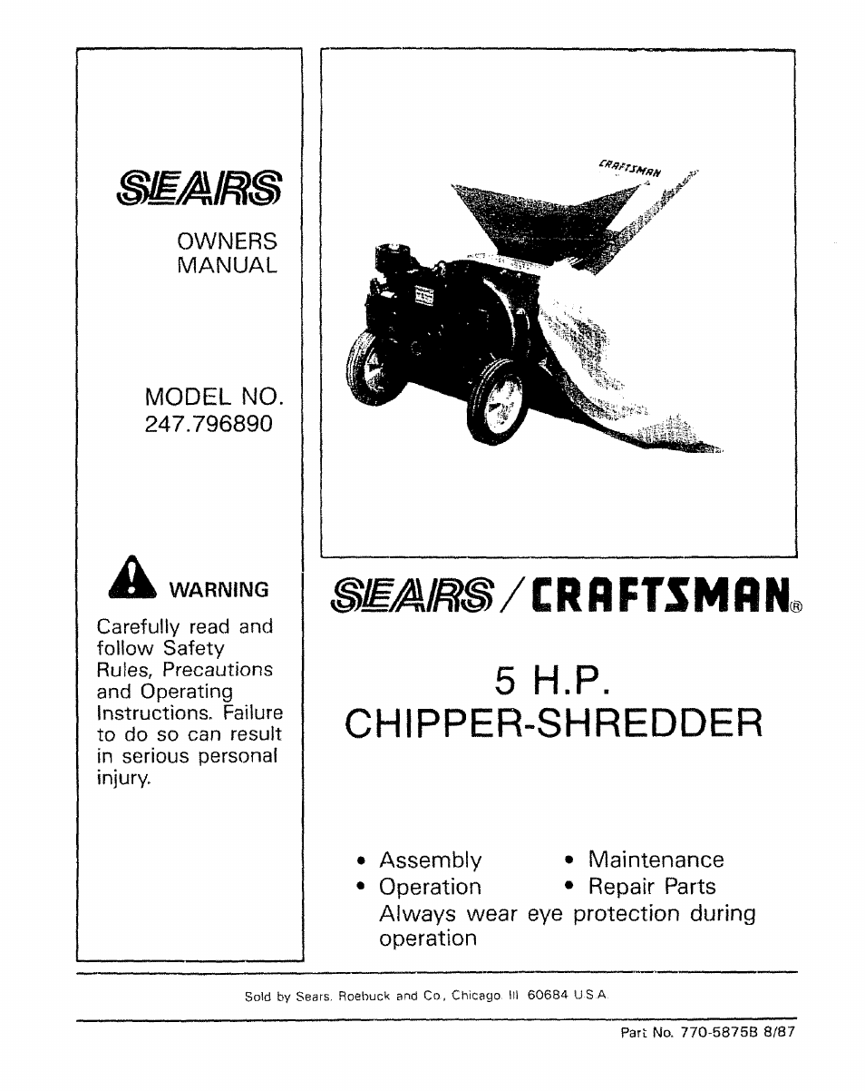 Sears 5hp Chipper Shredder Manual