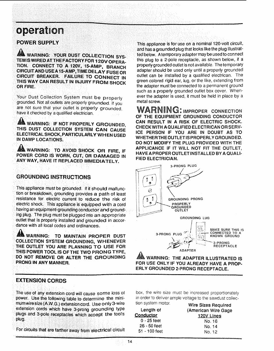 Operation, O per atio n, Warning | Craftsman 113 299780 User