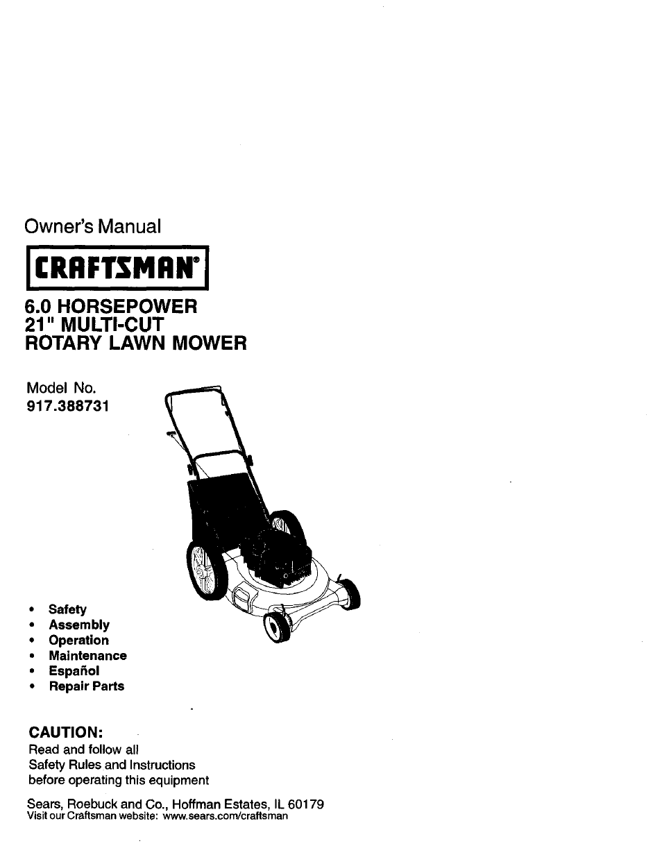 Craftsman 41a5021 Manual
