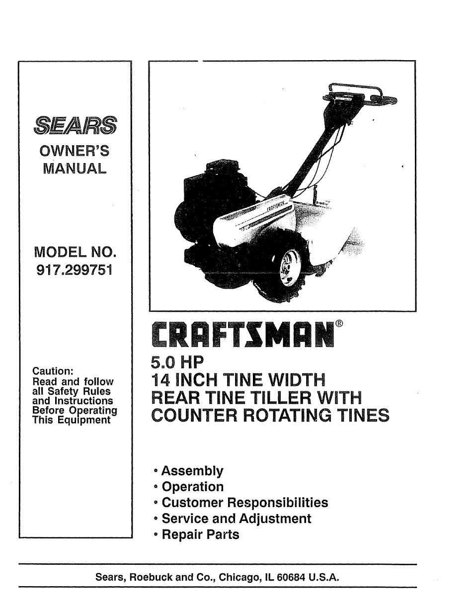craftsman 917 299751 user manual 32 pages rh manualsdir com sears craftsman 5hp tiller manual Sears Craftsman Mini Tiller