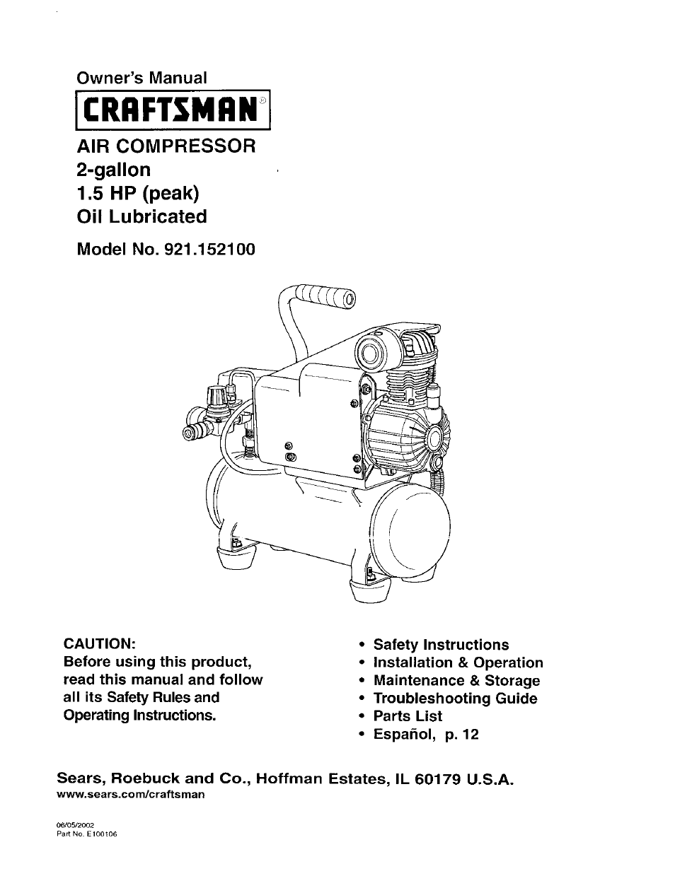 craftsman-921152100-page1 Wiring Diagram Of Air Compressor on