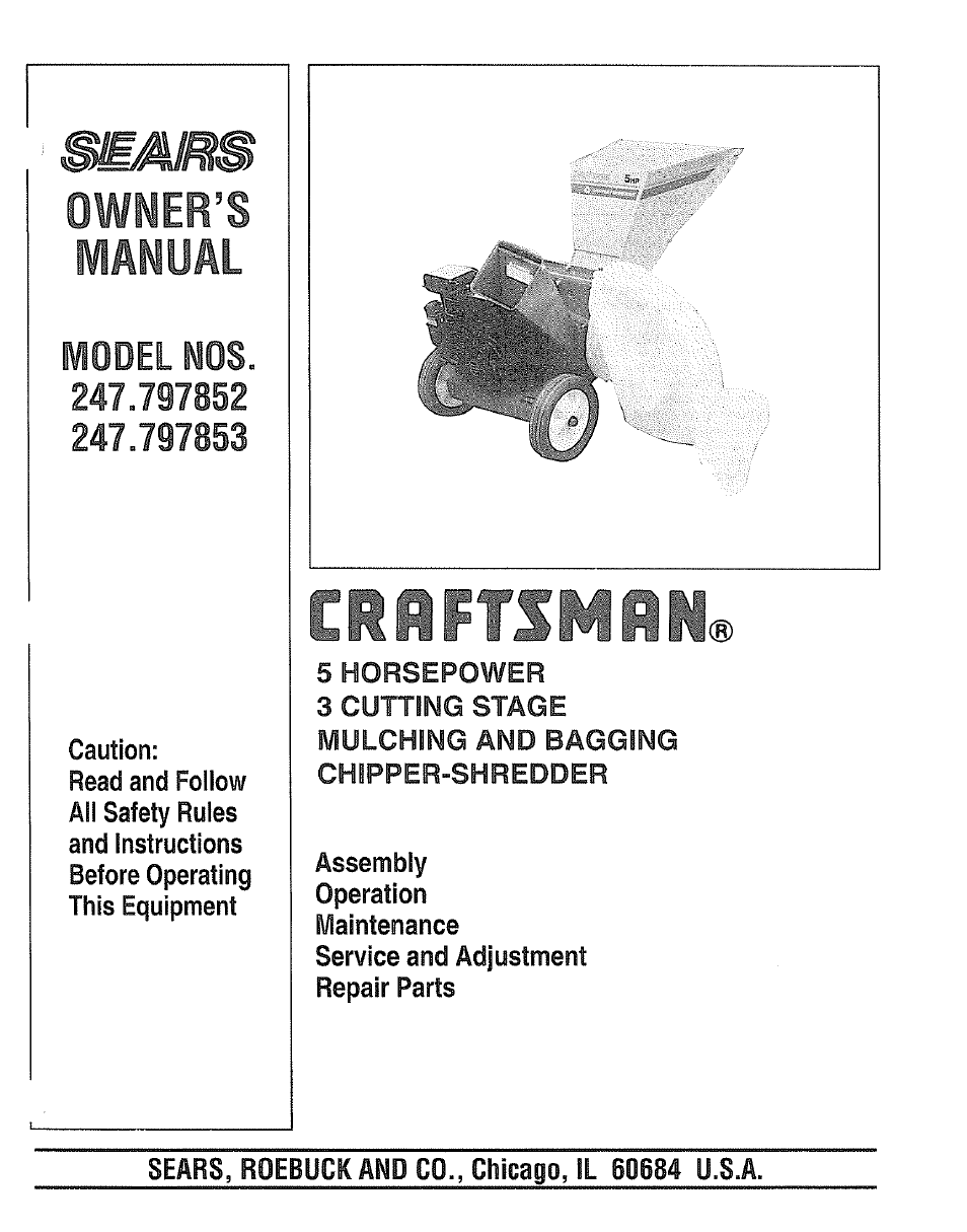 Craftsman 5 Hp Chipper Shredder Manuals