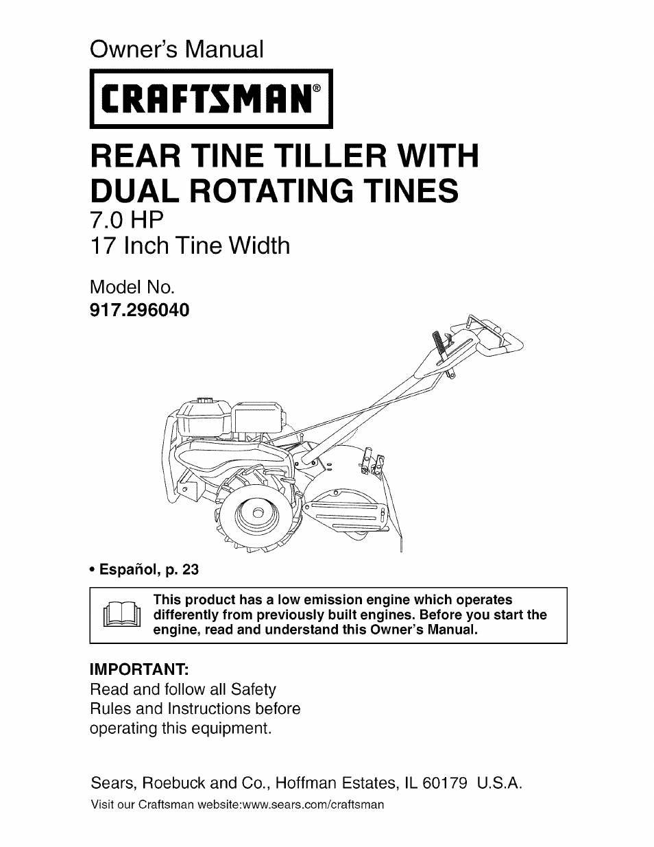 Craftsman 5 Hp 24 Tiller Manual : Craftsman user manual pages