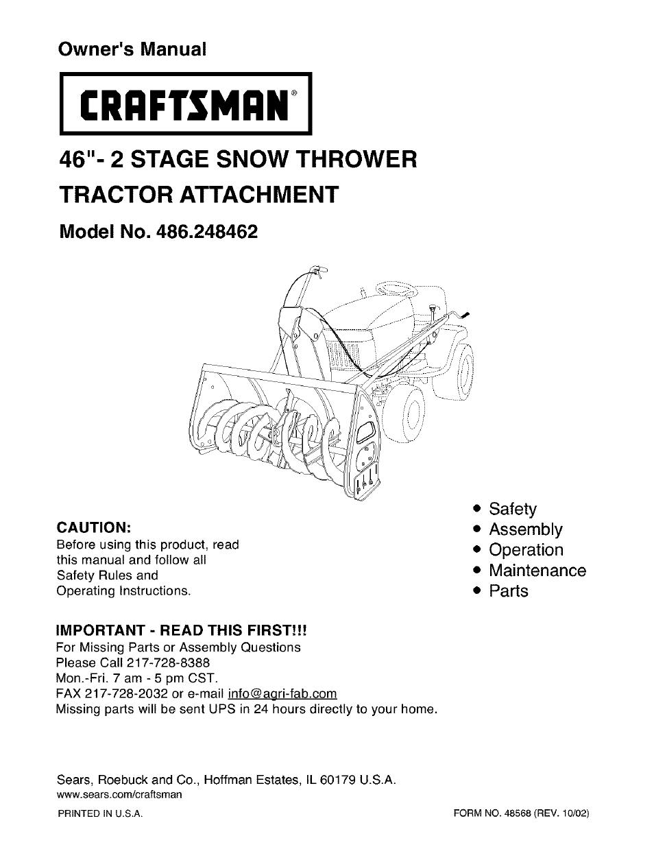 Craftsman Snow Thrower Parts Manual : Craftsman user manual pages