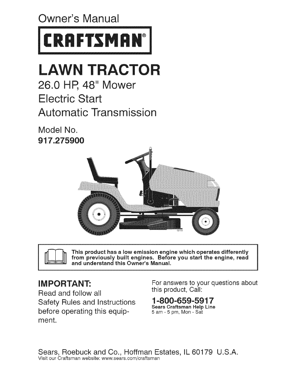 Craftsman Lt1000 Mower Manual : Craftsman user manual pages