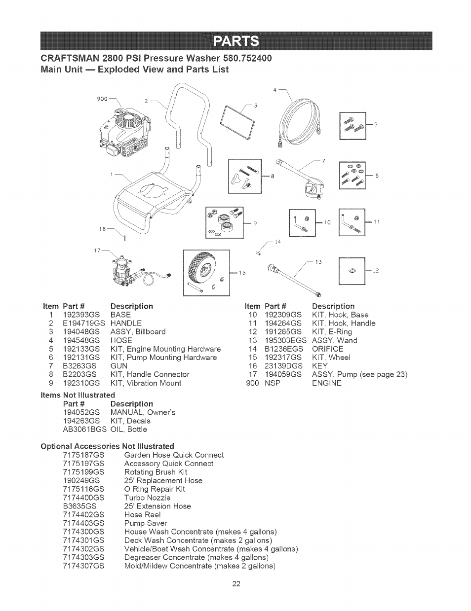 Parts | Craftsman 580.752400 User Manual | Page 22 / 52 on