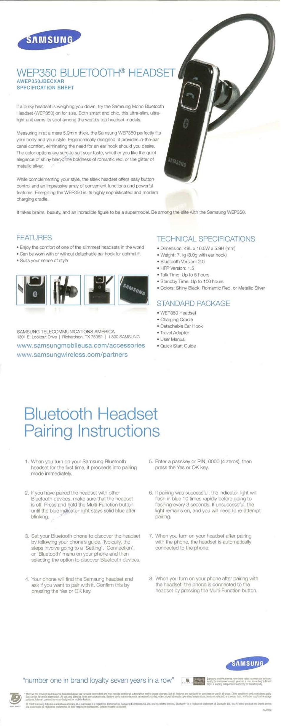 Samsung Wep350 User Manual 1 Page