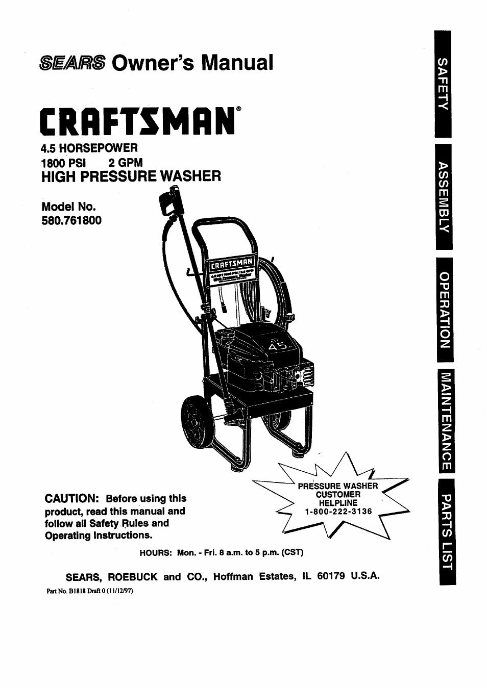 craftsman 580 761800 user manual 28 pages rh manualsdir com craftsman 3100 psi pressure washer owners manual craftsman 3100 psi pressure washer owners manual